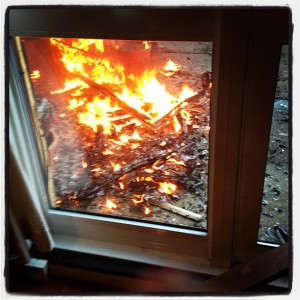 burning window